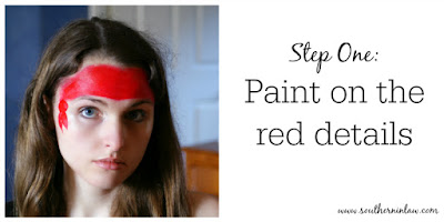 Pirate Face Paint Step One - Paint on the Red Details