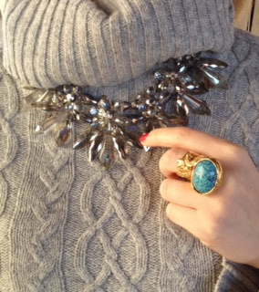 ysl, yves saint laurent, ysl arty ring, ring, blue stone ring, zara necklace, flower necklace, crystal necklace