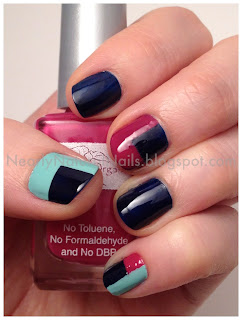 mineral fusion nail lacquer, No-Miss Gainsville Green, Karma hues, Farmer's market berries, color blocking nail art, 31 day challenge, inspired by a color, mani, manicure, natural nail polish, big 3 free nail polish, blue nails, navy blue, hot pink, magenta, sea foam green