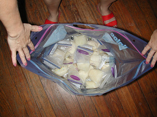 A large ziplock bag of filled breast milk storage bags.