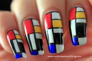 mondrian abstract nail art