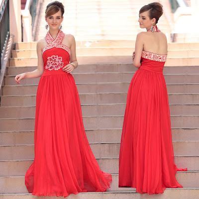 Red Oriental Style Halter Floor Length Dress