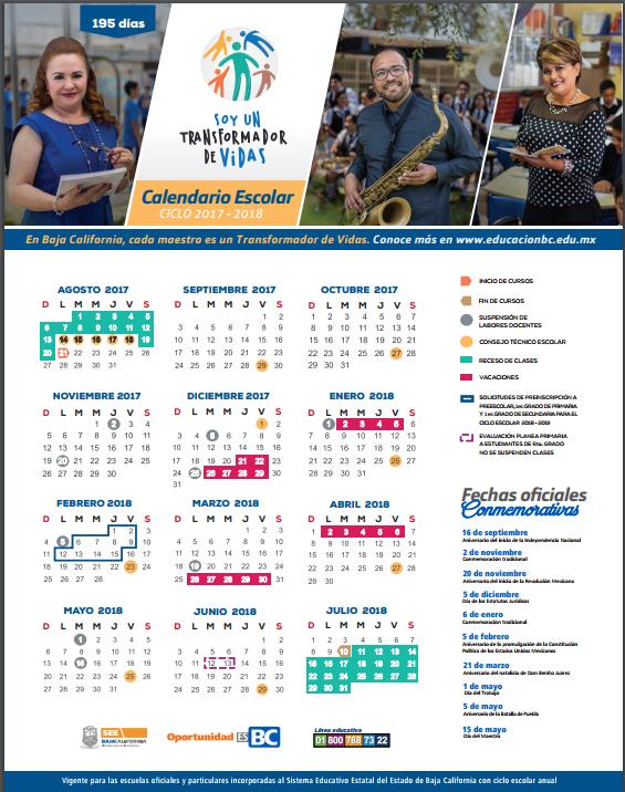 Calendario escolar 2017-2018.