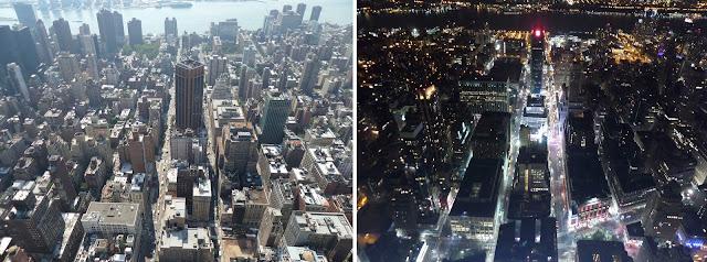 Nueva York desde el Empire State Building, día y noche