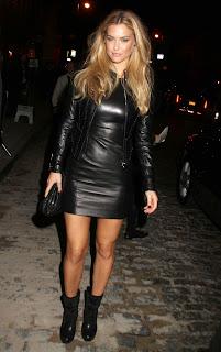 Bar Refaeli in a leather mini dress