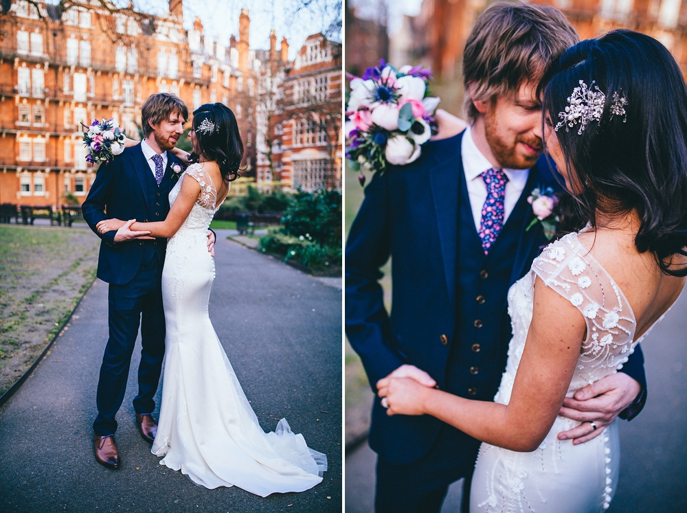 romantic wedding portrait of couple in wedding dress and suit in central london park mayfair