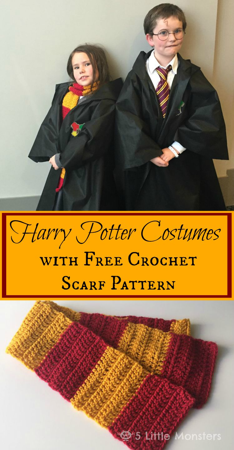 5 Little Monsters: Harry Potter Outfits and Scarf Pattern