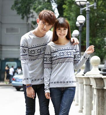contoh desain baju couple lengan panjang