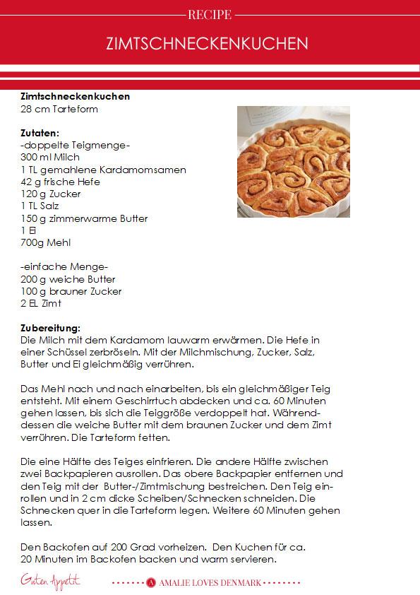 Amalie loves Denmark Rezept Zimtschneckenkuchen