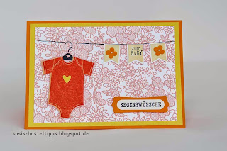 something for baby framelit Stampin UP Karte mit Stempelwalze