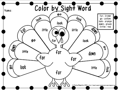 words book sight by turkeys color using   for Free   Dolch words the perfect my word printable sight