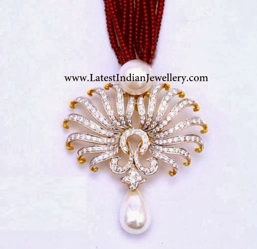 Diamond Pendant Set Ruby Mala