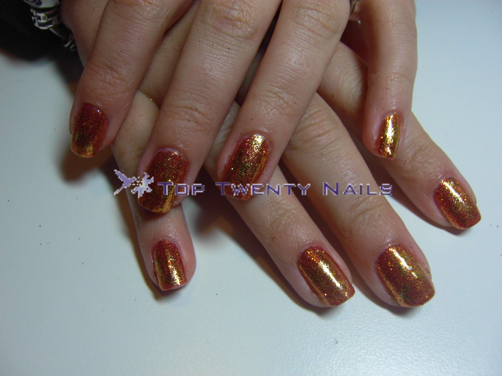 TopTwentyNails: Shellac Rockstar Nails with Gold Foil Shatter Effect