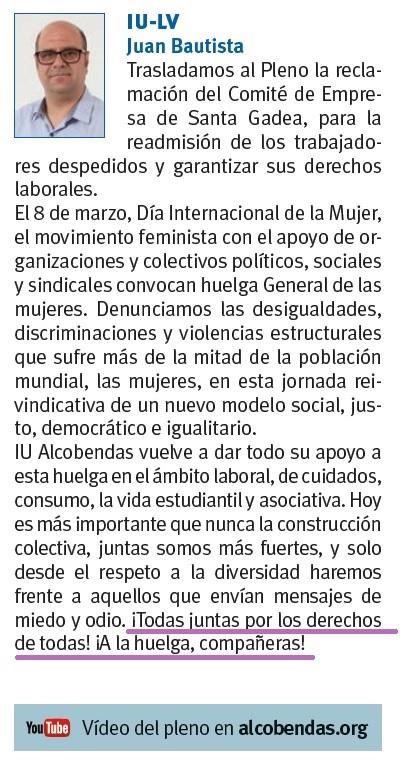 Crónica Pleno Alcobendas febrero 2019