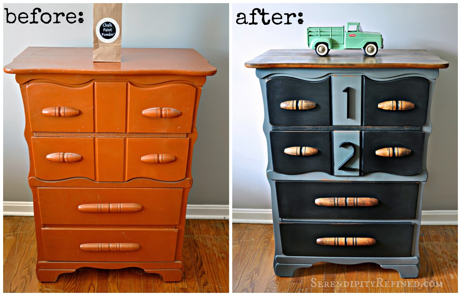Painting furniture black before and after - Finishing