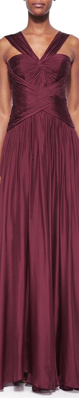 Monique Lhuillier Draped Crisscross Halter Gown