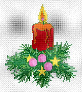 Christmas Candle Free Cross Stitch Pattern.