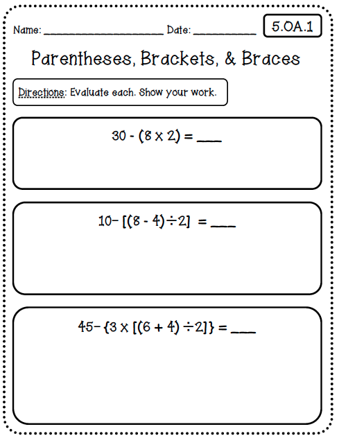 Common Core Worksheets (5th Grade Edition) - Create●Teach●Share