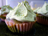 Strawberry Green Tea Swirl Cupcakes