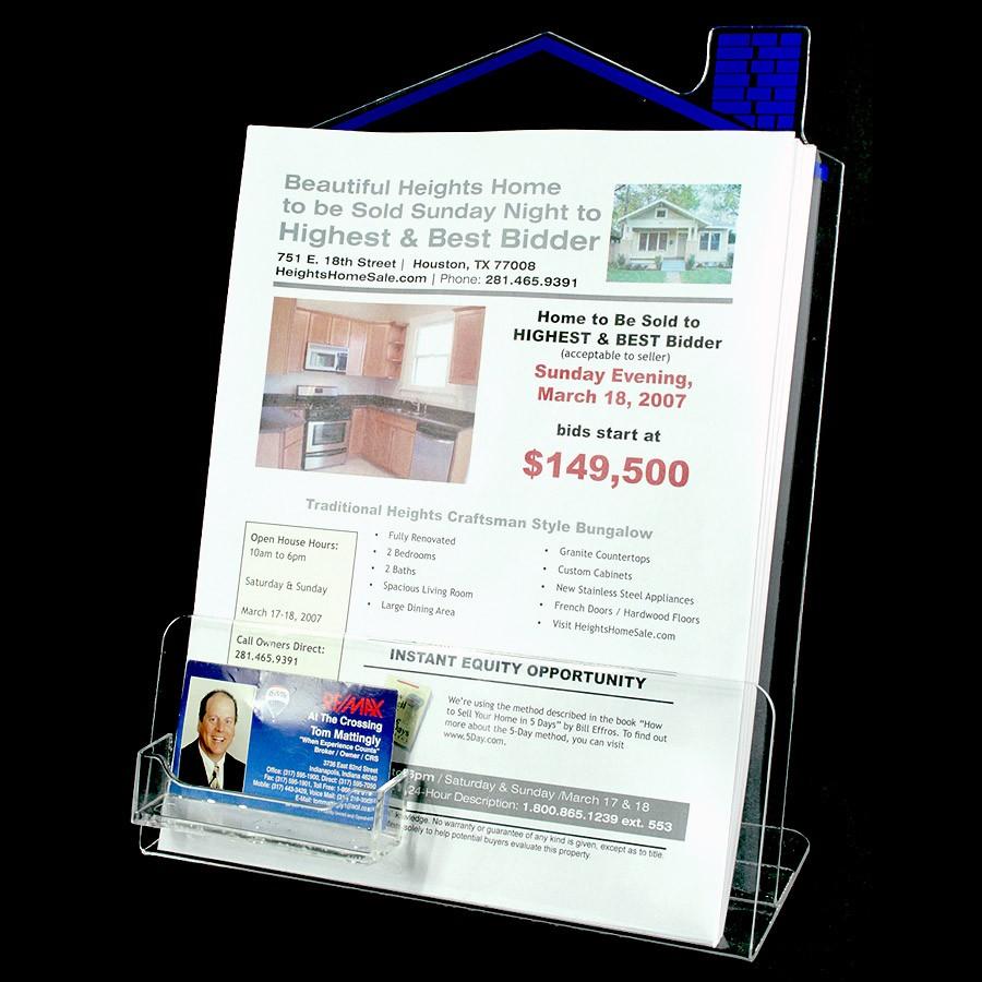 Brochure kiosk pics brochure holder with business card for Flyer holder with business card