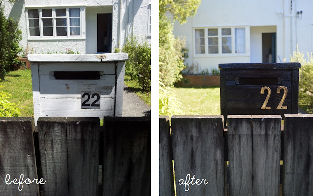 Black glossy letterbox: before and after by Amy MacLeod