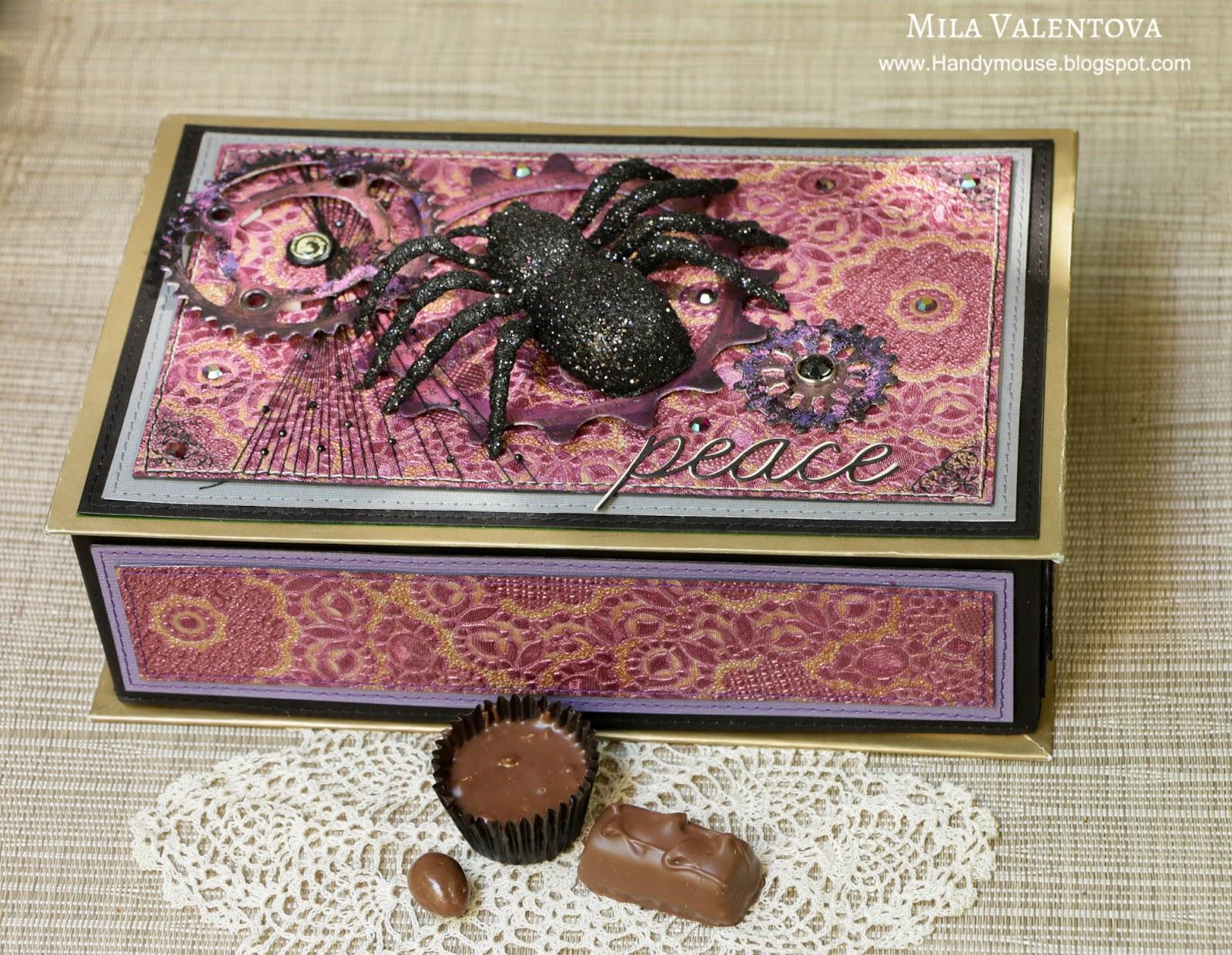 Скрапбукинг коробка с конфетками Хэллоуин боо. Мила Валентова.