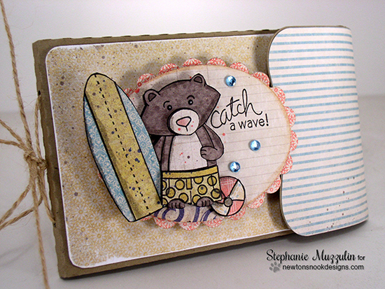 Beach Bear Surfboard mini album by Stephanie Muzzulin for Newton's Nook Designs | Beach Party Stamp Set