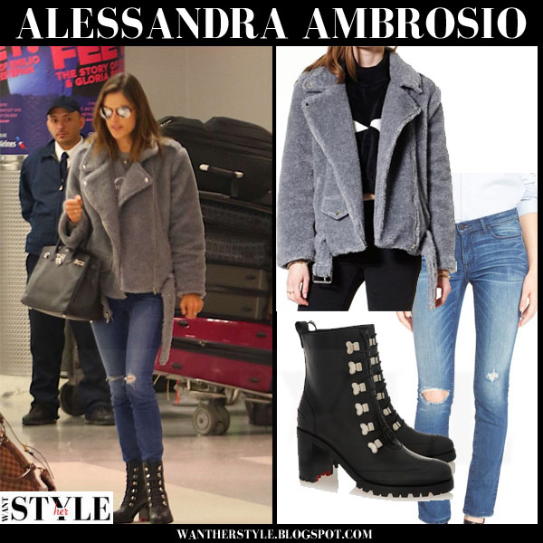 Alessandra Ambrosio in grey boucle storets jacket, skinny ayr jeans and black ankle boots christian louboutin contry croche what she wore