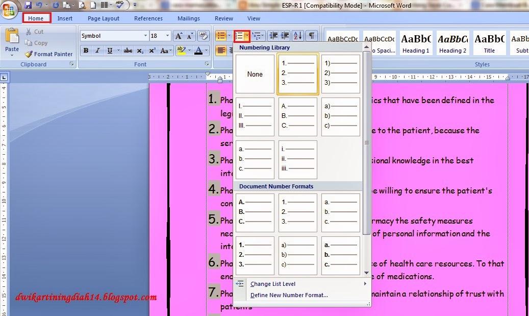 My BLog \(´ `)/ \(´ `)/ \(´ `)/: Cara Membuat Buku di Ms