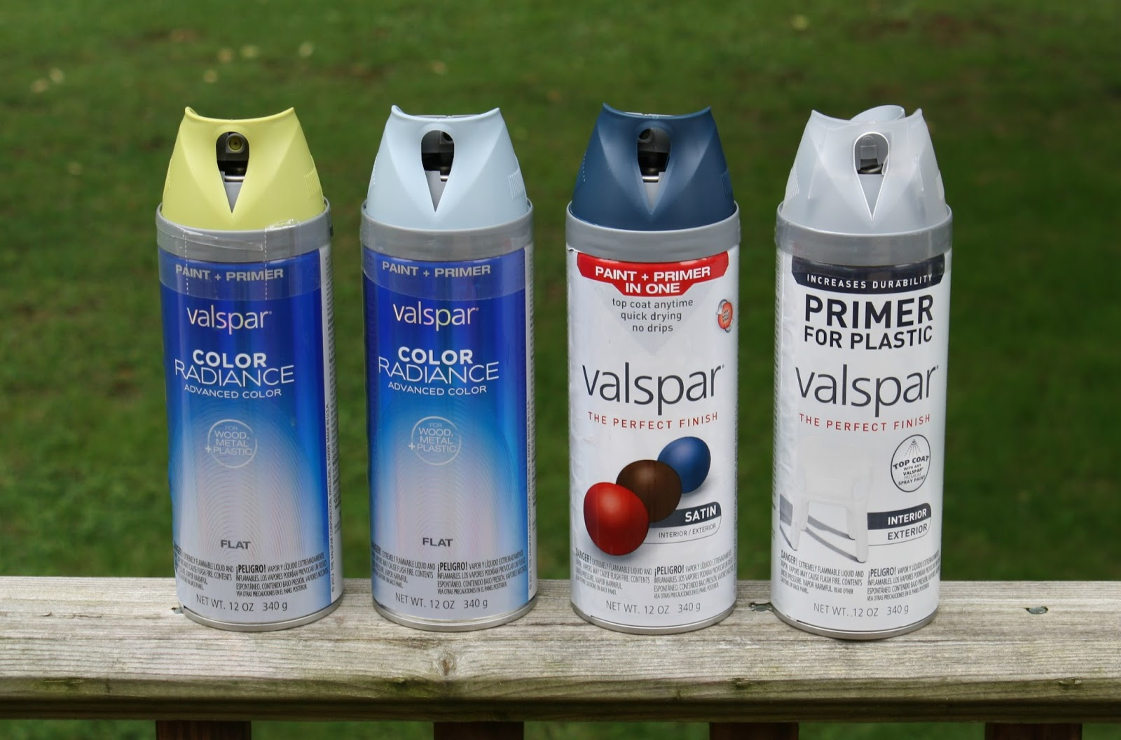 Charming Valspar Color Radiance Spray Paint Part - 10: The Lime Green And Baby Blue Are From The Valspar Color Radiance Line. They  Are Both Paint And Primer, And Theyu0027re Also Good For Plastics.