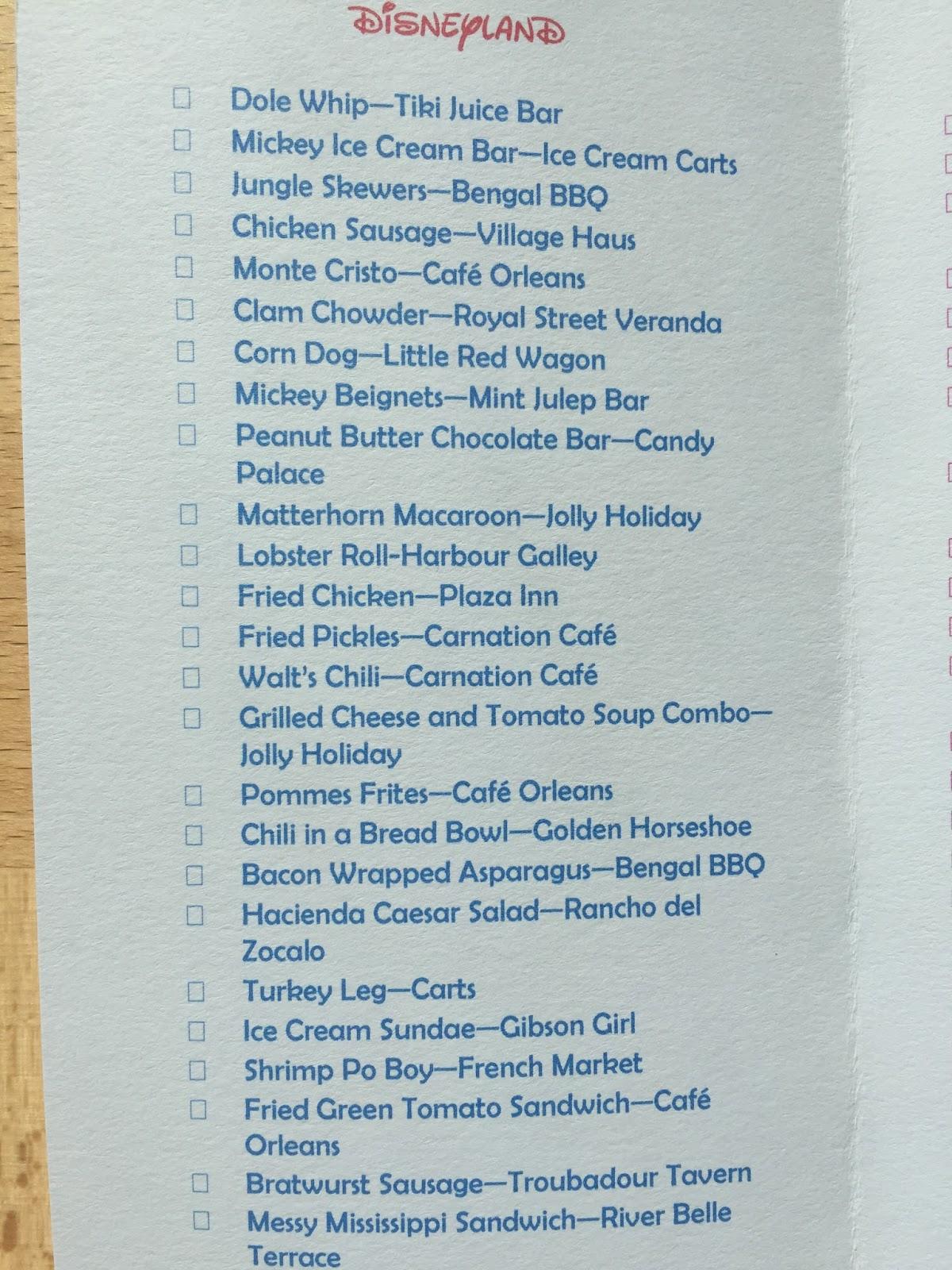 Disneyland Food and Drink Checklist - Falon Loves Life