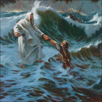 Jesus Helping Peter In The Sea Storm