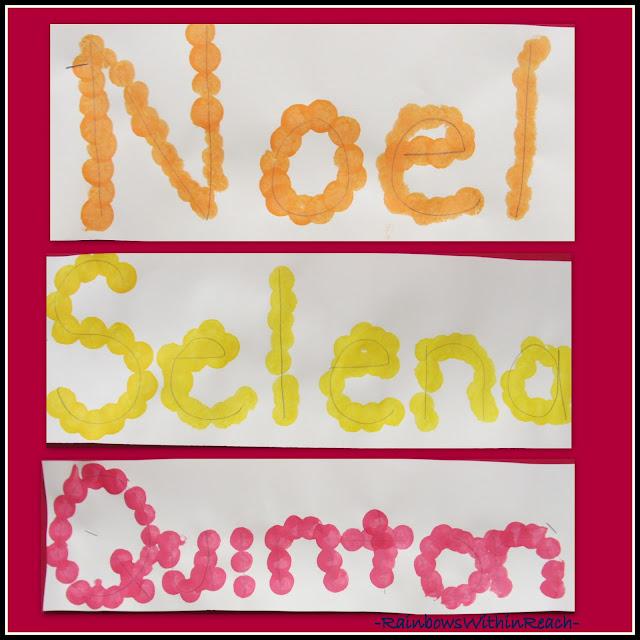 photo of: Letter Recognition in Name Activity, Kindergarten Fine Motor Work