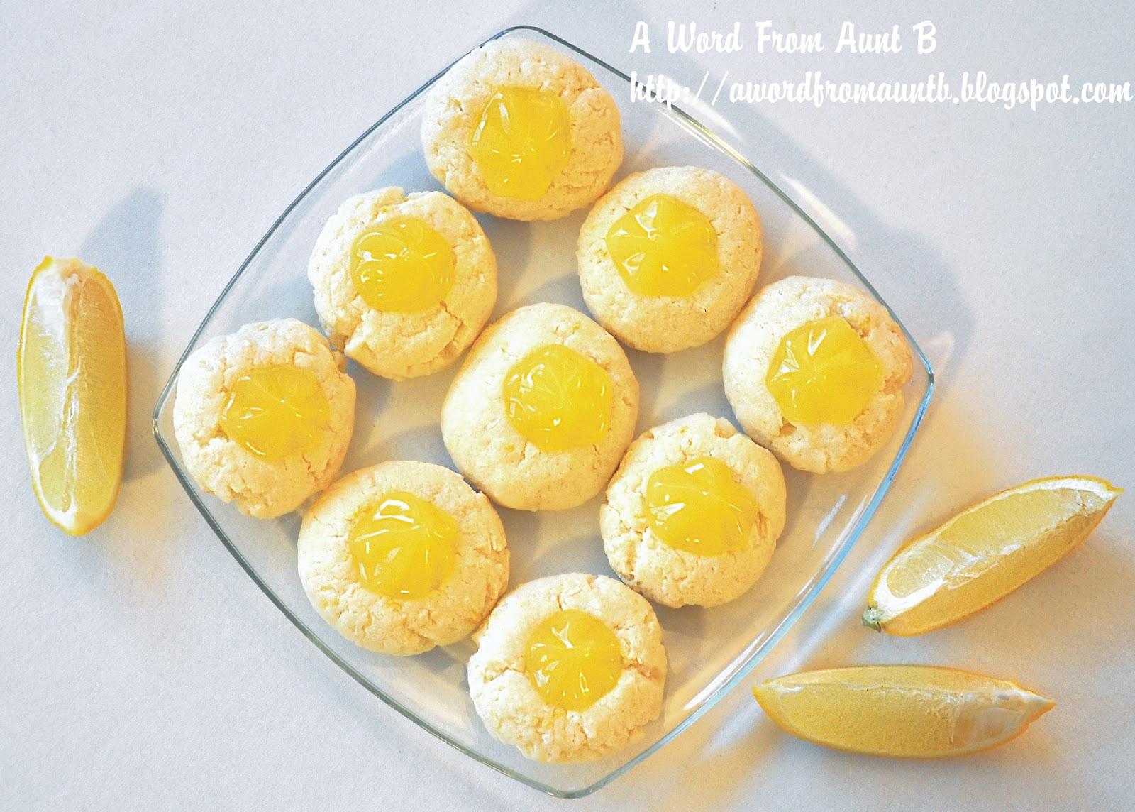 Word From Aunt B: Lemon Coconut Thumbprint Cookies