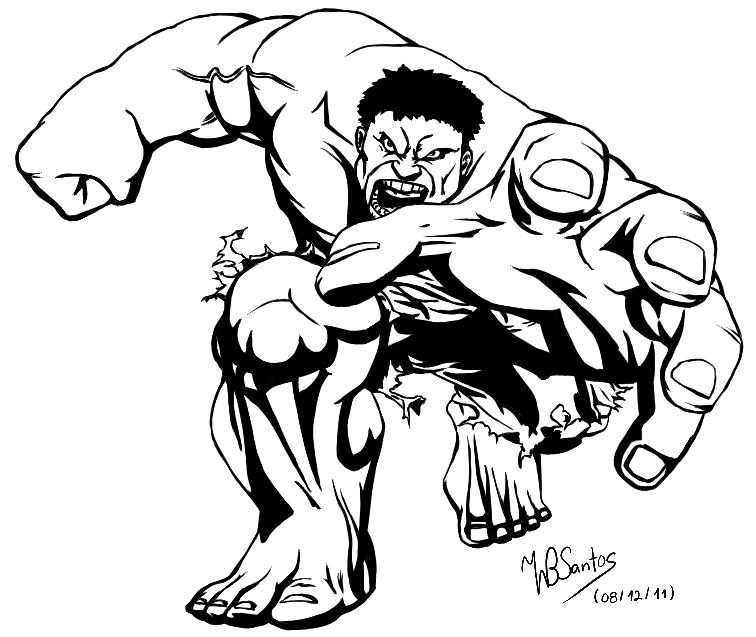 Black and White Incredible Hulk
