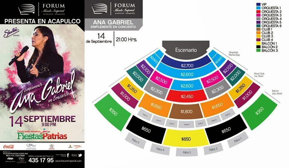 boletos ana gabriel acapulco concierto