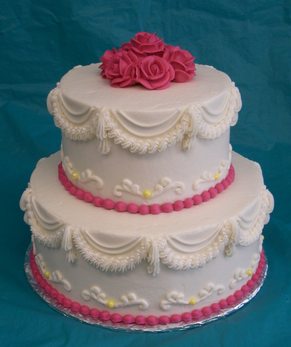 Cake Place 2 Tier Pink And White Wedding Cake With Pink Roses