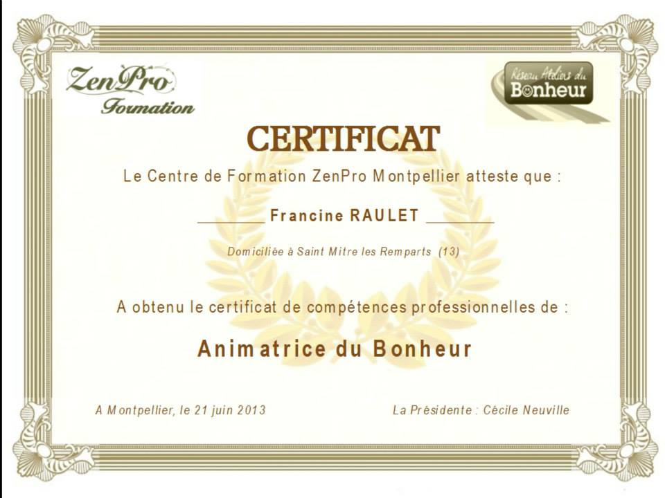 R seau des ateliers du bonheur un certificat de plus for Certificat de precompte
