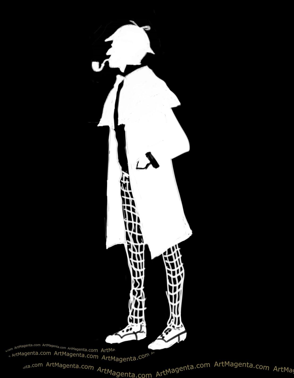 Sherlock Holmes caricature cartoon. Portrait drawing by caricaturist Artmagenta