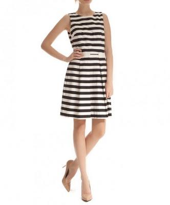 koton çizgili beyaz elbise, rahat kesim, kolsuz oldukça şık bir elbise modeli 2013 elbise