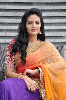 Sri Mukhi looks Gorgeous Telugu heroine in Beautiful Purple Saree with Orange Peachy Pallu WOW