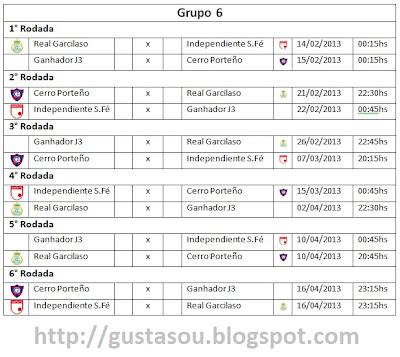 Datas com os jogos do grupo 6 da Libertadores 2013.