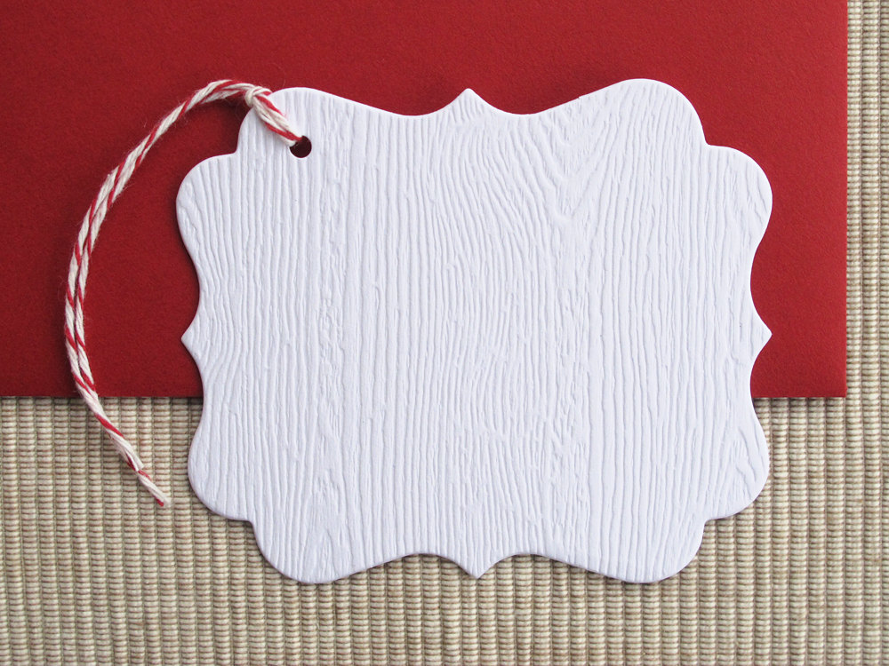 Maida vale modern wedding inspiration faux bois gift tags
