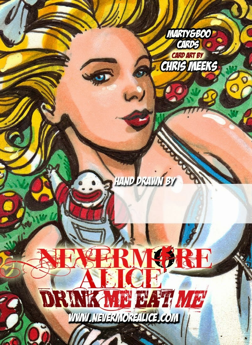 Nevermore Alice EatMe DrinkMe sketch card back 2