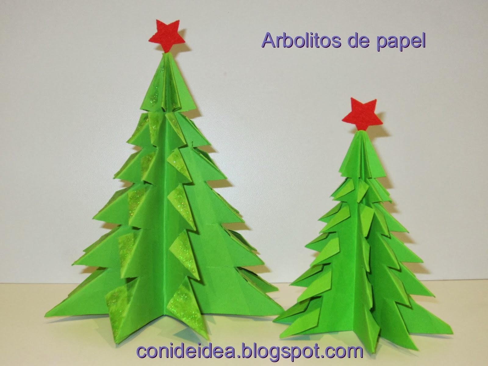 Manualidades con i de idea arbolitos de papel - Arboles de navidad de papel ...