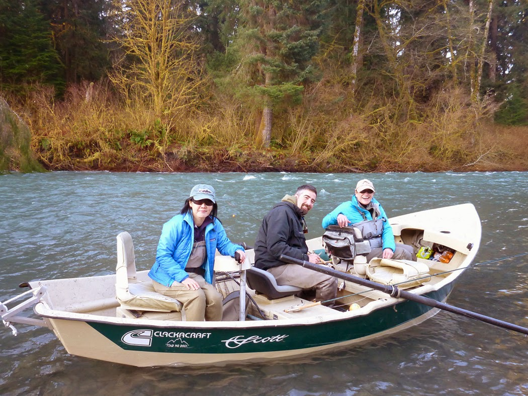 Hyun Kounne, Jim Kerr, and Demetre Bove on the Upper Hoh river.