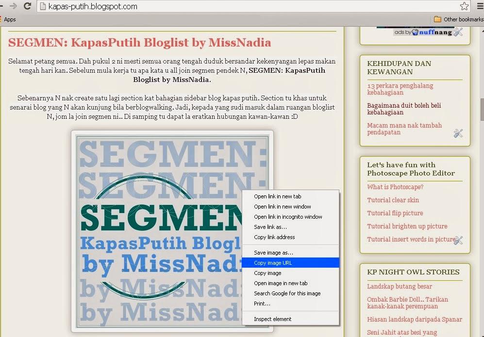Tutorial: Masukkan gambar dari laman sesawang ke dalam entri blog