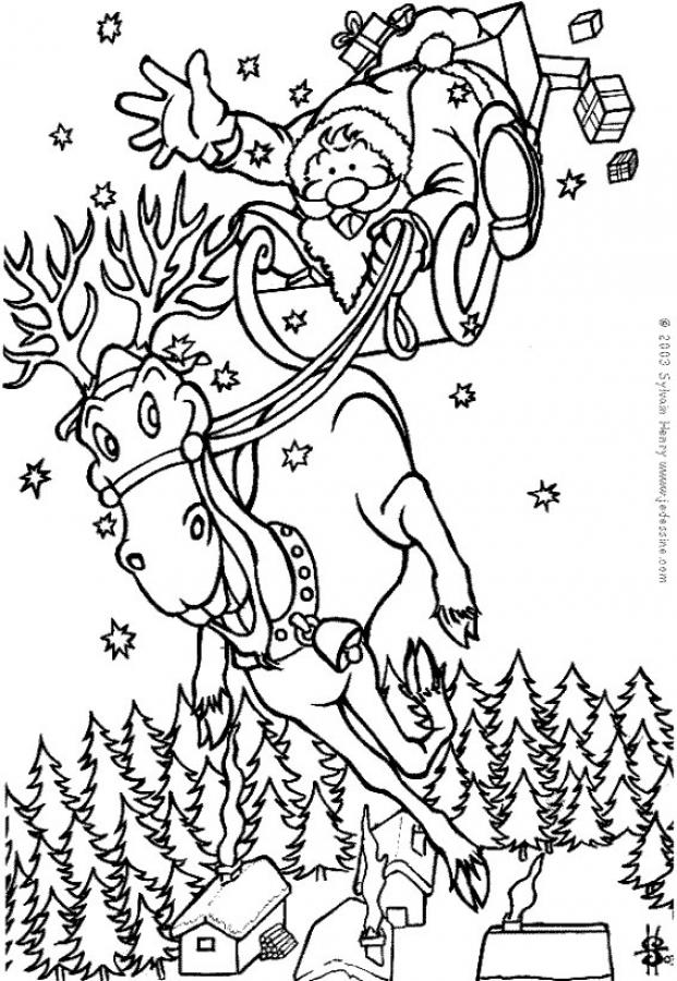 Coloring Pages Santa Claus Reindeer Train