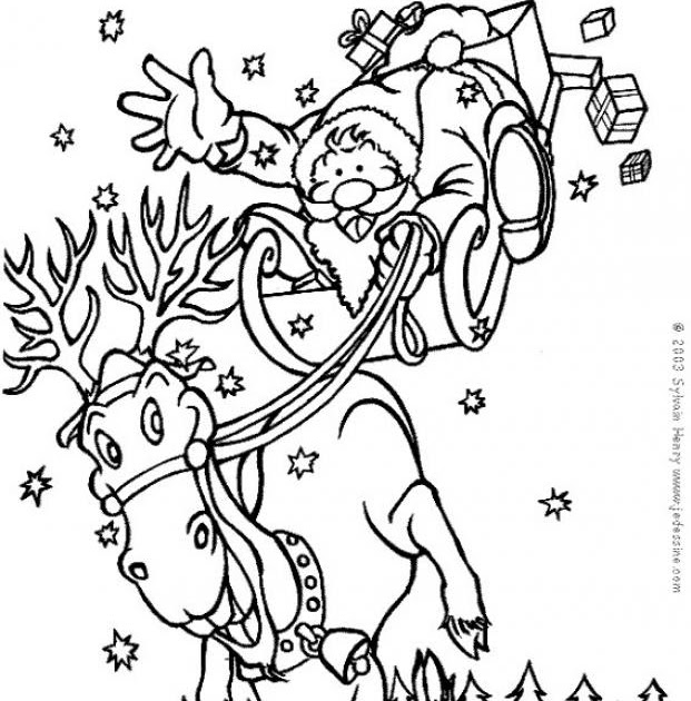 Coloring pages santa claus reindeer train for Santa claus with reindeer coloring pages