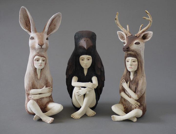 Esculturas de cerámica de híbridos humano-animales de Crystal Morey